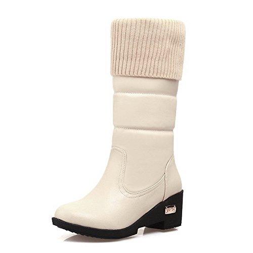 AgooLar Damen Ziehen auf Mittler Absatz Flaum Futter Rein Rund Zehe Stiefel, Cremefarben, 34