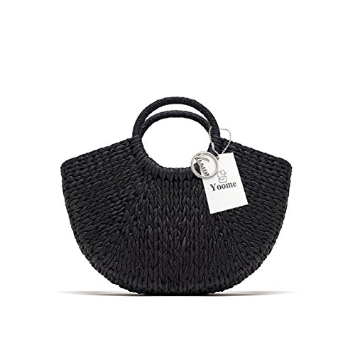 Yoome Chic Hand-Woven Straw Bag Round Handle Toto Retro Large Casual Summer Beach ()