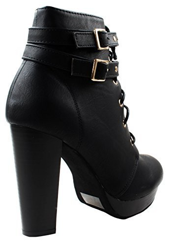 Top Moda Women's Cici-1 High Heel Lace up Ankle Boots Platform Booties with Studs,Black,6