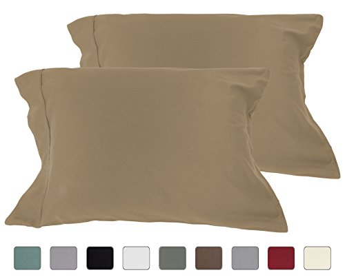 American Pillowcase 100% Cotton, High Thread Count, Luxury Set of Pillow Cases, Z-style Hem Stitch, King 21x40 (fits 20x36 pillow) - Taupe