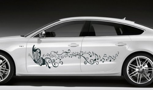 Car Side Vinyl Sticker Graphics Butterfly With Music
