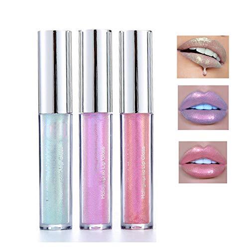 3 Color Glitter Lip Gloss Mermaid Glitter Lipstick Long Lasting Moisturizer Liquid Lipstick Polarized Color for Creating Sexy Lip Eye Beauty Lip Plumper Eye Lip Metallic Cosmetic ()