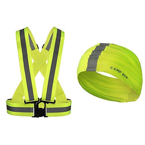 (Camp Ben Reflective Safety Running Vest - Hi Vis Reflector Gear- Mens Womens Motorcycle, Bike, Cycling or Jogging Green Walking Your Dog | Bonus Neon Bandana | High Visibility)
