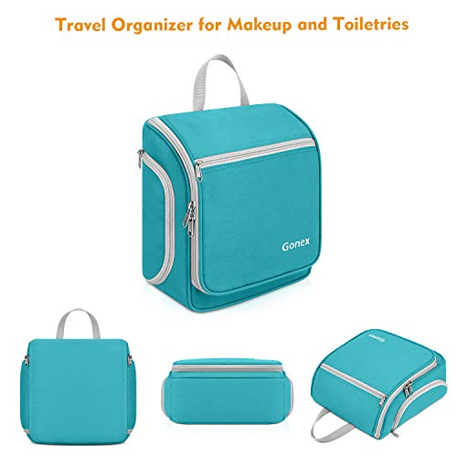 Gonex Hanging Toiletry Bag, Travel Organizer Bag for Makeup and Toiletries, Men and Women Blue