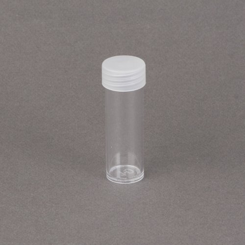(10) Edgar Marcus Brand Round Clear Plastic (Dime) Size Coin Storage Tube Holders with Screw on Lid