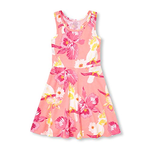 The Children's Place Girls' Big Printed Sleeveless Racerback Dress, neon Blossom, XXL(16)