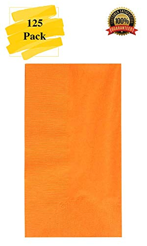 MM Foodservice 125 Count 2 Ply Paper Dinner Napkins perfect for Weddings, Parties, Dinners or Events (ORANGE)