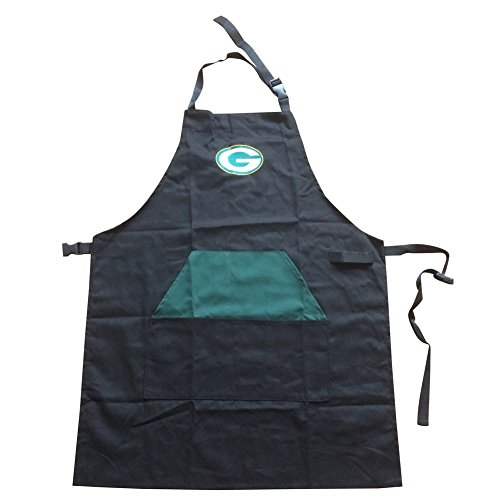 (ENJOY 11 Adjustable NFL Professional Grade Chef Apron for Kitchen, BBQ, and Grill (Black) with Towel Loop (Green Bay)