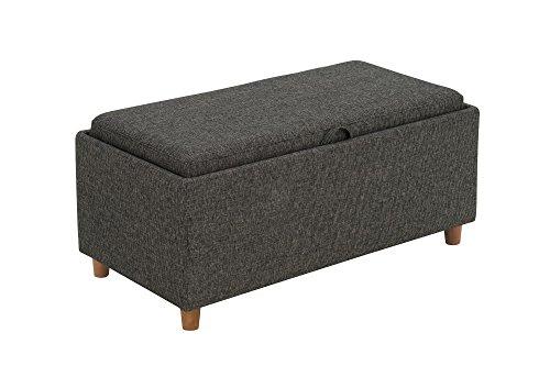 Novogratz 2181429N Regal Linen Upholstery, Ottoman, Grey
