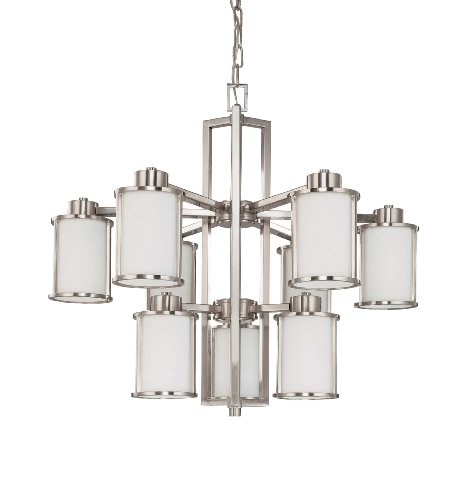 Nuvo Lighting 60/3809 Odeon 9-Light Two Tier Chandelier with Convertible Arms Up or Down and Satin White Glass, Brushed Nickel