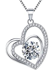 VAN RORSI&MO Heart Necklaces 5A Cubic Zirconia heart Pendant Necklace Jewelry 14k Gold Plated Necklaces for Women