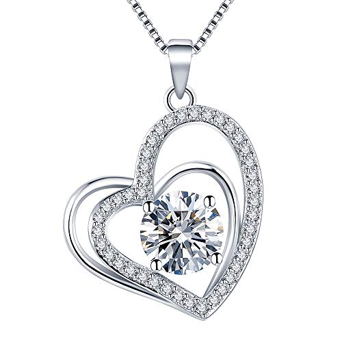 (VAN RORSI&MO Heart Necklaces 5A Cubic Zirconia heart Pendant Necklace Jewelry 14k White Gold Plated Necklaces for Women)