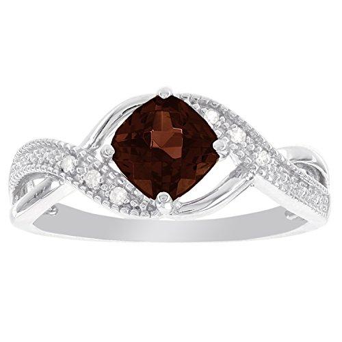 Sterling Silver Cushion Cut Garnet and Diamond Accent Ring (I-J - Garnet Ring Fashion Cut