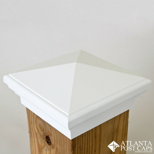 6x6 Post Cap | White New England Pyramid Style Square Top for Outdoor Fences, Mailboxes & Decks, by Atlanta Post ()