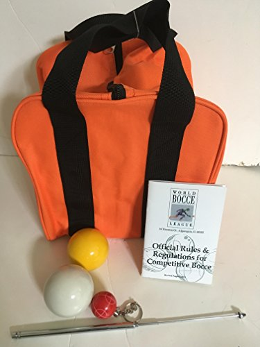 Unique Bocce Ball Accessories Package - Extra Heavy Duty Nylon Bocce Bag (Orange with Black Handles), yellow and white pallinas, Extendable Measuring Device, Rule Book and Keychain by BuyBocceBalls