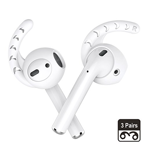 AhaStyle 3 Pairs Silicone Ear Hooks Covers Accessories Compatible with Apple AirPods, Apple EarPods Headphones (Milk White)