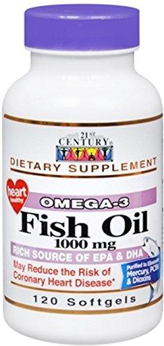 21st Century Omega-3 Fish Oil 1000 mg Softgels 120 Soft Gels (Pack of 8)