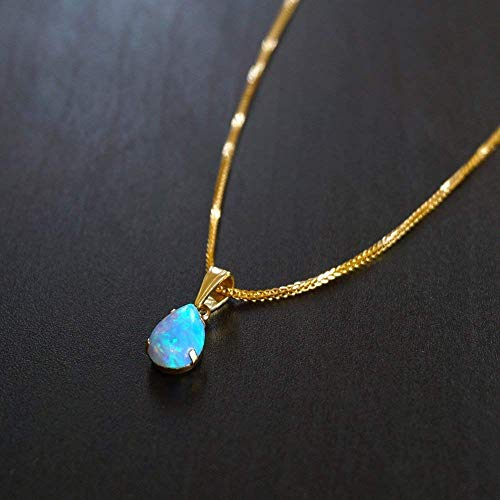 (14K Gold Blue Opal Necklace - Dainty Pear Shape Teardrop Pendant, 7x10mm 14K Solid Yellow Gold Necklace with October Birthstone, Medium Size Opal Gemstone, Delicate Handmade Jewelry for Classy Women)