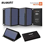HAPP TRIX Solar Panel Suaoki Portable 28W Foldable Solar Panel Charger with QC 3.0 Quick Charging 3 USB Port 3.1A Output for iPhone Samsung Tablet Multi Medium Medium