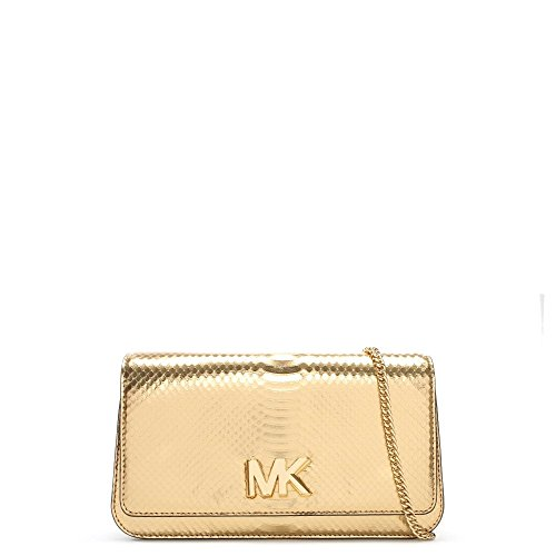 Michael Kors Women's Large Mott Ayers Snake Snakeskin Clutch - Pale Gold by Michael Kors