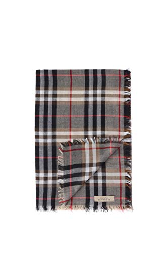 Burberry Uni Camel Castleford Lightweight Wool Blend Check Scarf
