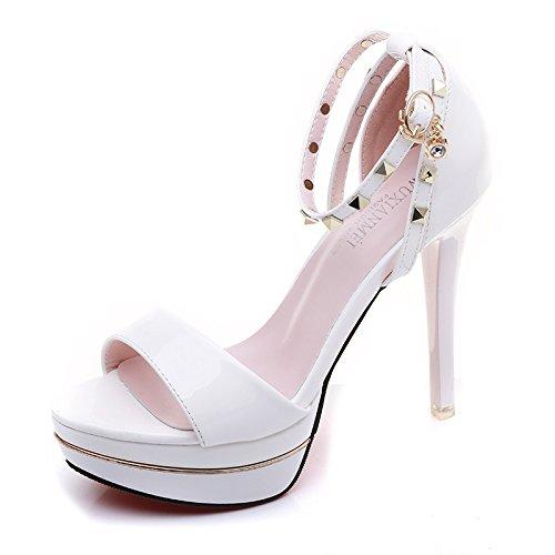 XiaoGao 11 centimetros de alta sandalias de tacon de moda remache simple,Blanco