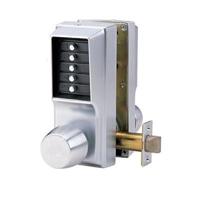 Kaba EE1011/EE1011-26D-41 Cylindrical Push Button Lock With Knob Ent/Egr Nko Us26D, Satin Chrome