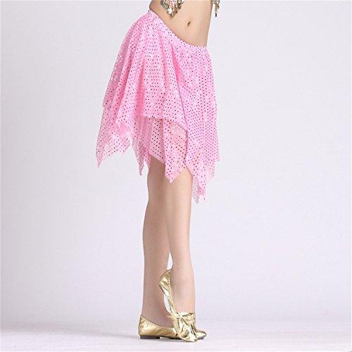 Danza del vientre Disfraz Set Mariposa Bandage Lace Top+Beaded Corto Falda Pink