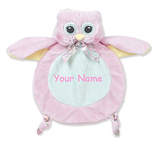 Blankie Personalized - Personalized Bearington Baby Collection Little Hoots Owl Snuggler Security Blanky Blanket - 9 Inches