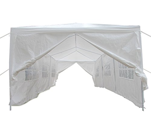 Qisan Happy Deals 20% Off Canopy Tent Carport 10 X 30-feet Domain Carport Party Wedding Tent with sidewalls, White(Calm Environment ()