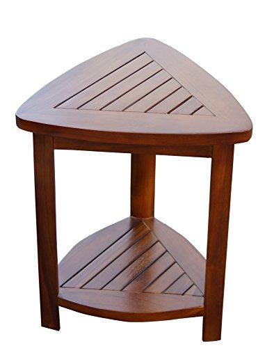 (ALA Teak Wood Bath Spa Shower Stool Corner Bench Stool Fully Assembled)