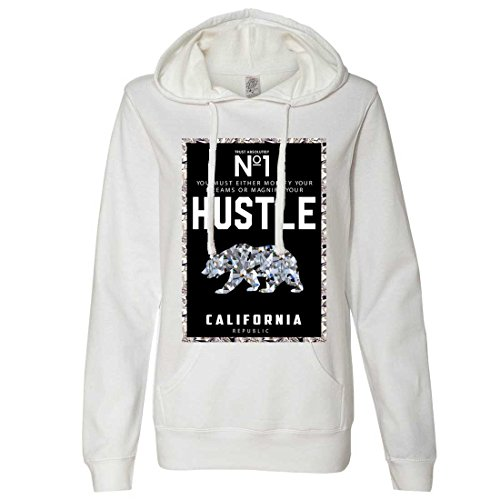 Dolphin Shirt Co California Republic No. 1 Diamond Hustle Ladies Lt./WT. Hoodie - White Large