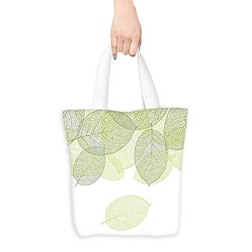 Green tote bag for women Stylized Fresh Green Leaves Botany Biology Environment Foliage Garden Lightweight 16.5