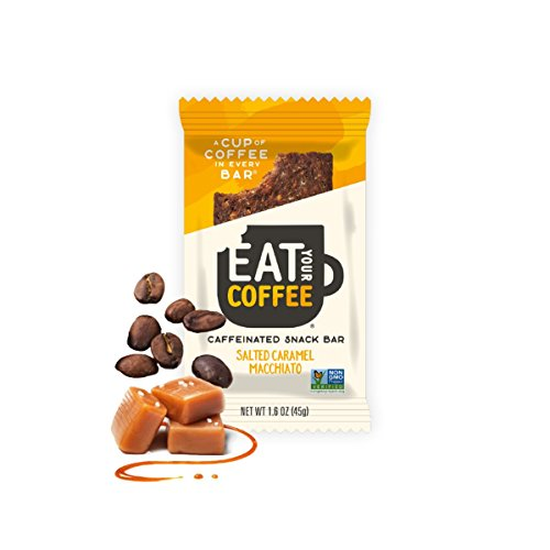 Eat Your Coffee - Gluten-Free Caffeinated Snack Bar (Salted Caramel Macchiato, 6 pack of 1.6 oz bars) Natural On-The-Go Bar made with Organic Dates for Increased Muscle and Mental Performance