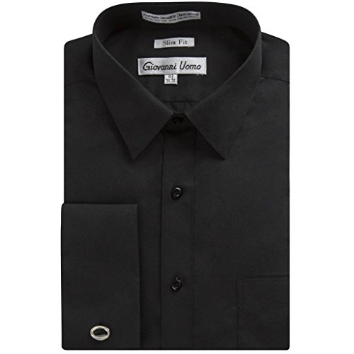Gentlemens Collection Men's 1921 Slim Fit French Cuff Dress Shirt ,Black,20