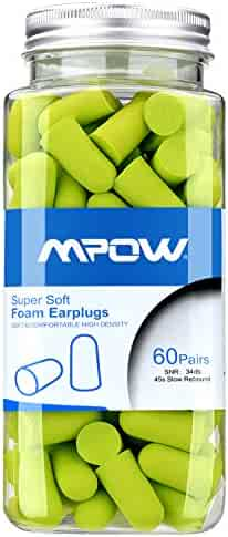 Mpow Foam Earplugs, 34dB NRR Ear Plugs, 60 Pairs with Aluminum Carry Case, Soft Ear Plugs Noise Reduction for Hearing Protection, Hunting Season, Sleeping, Snoring, Working, Shooting, Travel, Concerts