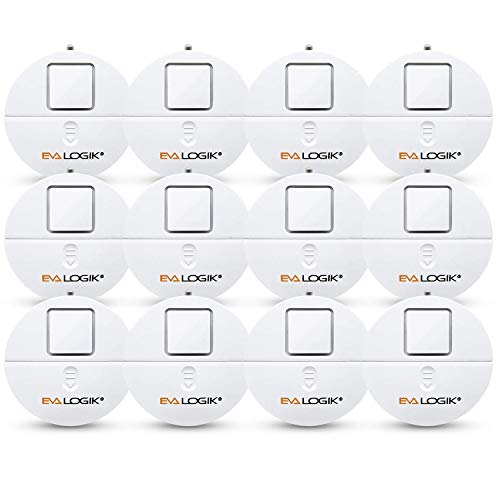 EVA LOGIK Modern Ultra-Thin Window Alarm 12 Pack with Loud 120dB Alarm and Vibration Sensors Compatible with Virtually Any Window, Glass Break Alarm Perfect for Home, Office, Dorm Room