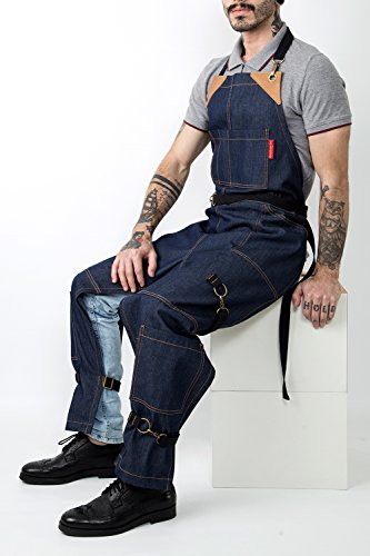 Under NY Sky Full Frontal Cover Blue Apron – No-Tie with Durable Denim, Leather Reinforcement and Split-Leg – Adjustable for Men and Women – Pro Pottery Artist, Mechanic, Plummer, Gardening Aprons by Under NY Sky