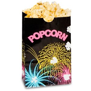 Bagcraft Papercon 300451 Theater Popcorn Bag with Black FunBurst Design, 170 oz Capacity, 11-3/4'' Length x 7-1/2'' Width x 3-1/2'' Height (Case of 250) by Bagcraft Papercon