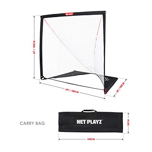 NET PLAYZ 6 x 6 x 6 Feet Lacrosse Goal Fast Install, Fiberglass Frme, Lightweight, Foldable, Portable, Carry Bag Included