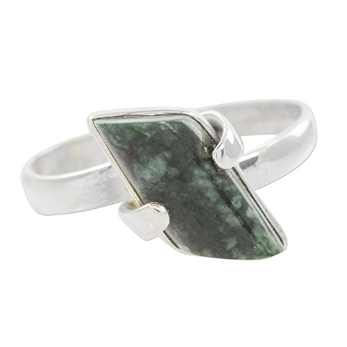 - NOVICA Jade .925 Sterling Silver Cocktail Ring 'Forest Glory'