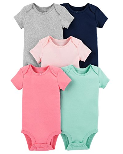 Carter's Baby Girls 5 Pack Bodysuit Set, Solid Colors, Newborn (Girl Pack 5 Bodysuit)