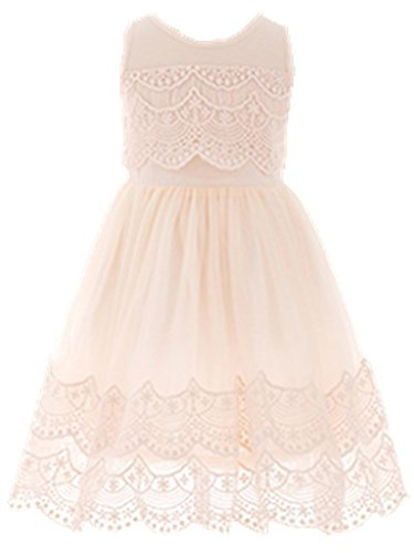 Happy Rose Flower Girl's Dress Vintage Lace Ivory Cream 8