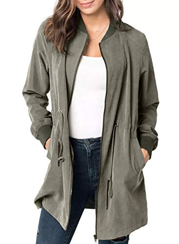 (Blibea Womens Casual Outwear Jackets Rib Collar Long Sleeve Casual Zipper Fall Coats Windbreaker X-Large Army Green)