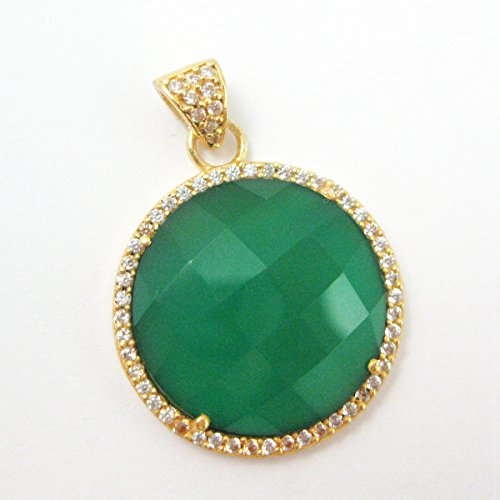 22K Gold plated Sterling Silver Pave Bezel Gemstone Pendant - Green Onyx Gemstone - Large Round Coin CZ Pave Vermeil Necklace Pendant - Onyx Pendant Faceted
