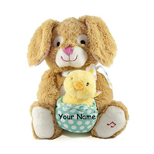 Cuddle Barn Personalized Animated Hip and Hop Singing Musical Easter Bunny and Chick Plush Stuffed Animal Toy - 12 Inches ()
