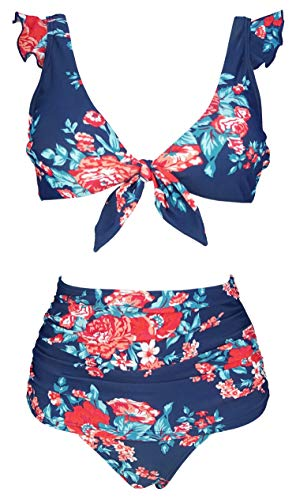 (COCOSHIP Red Pink & Navy Blue Antigua Floral High Waisted Shirred Bikini Set Tie Front Closure Top Ruffle Straps Swim Bathing Suit 8)