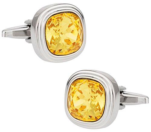 Cuff-Daddy Swarovski Sunflower Yellow Crystal Cufflinks with Presentation (Swarovski Sunflowers)