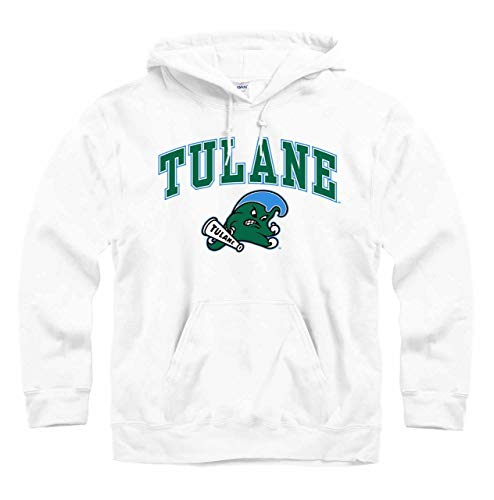 (Tulane Green Wave Arch & Logo Gameday Hooded Sweatshirt - White )