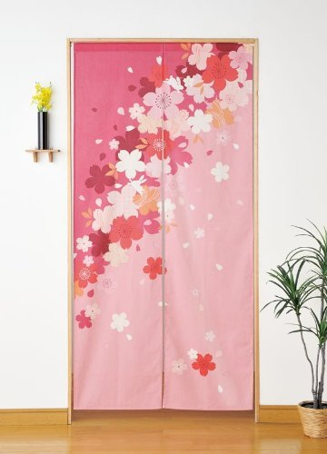 Japan-Cotton-Pongee-Cherry-Blossoms-Sakura-Tree-Long-Type-Noren-Curtain-Pink-335689inch